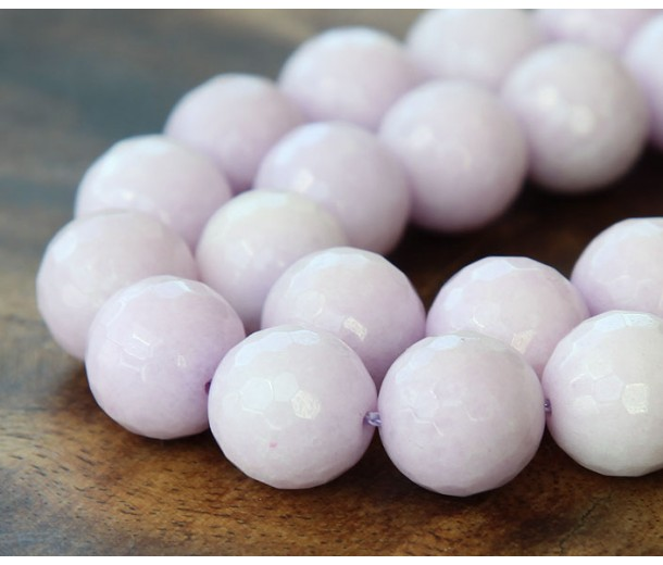 Pastel Purple Candy Jade Beads, 12mm Faceted Round