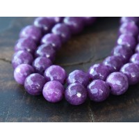 Purple Candy Jade Beads, 6mm Faceted Round