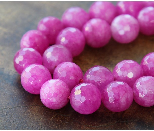 Fuchsia Candy Jade Beads, 8mm Faceted Round