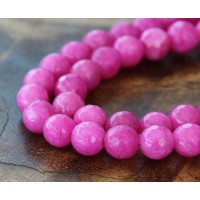 Fuchsia Candy Jade Beads, 6mm Faceted Round