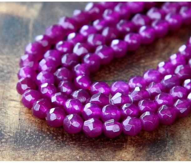 Dark Orchid Candy Jade Beads, 4mm Faceted Round