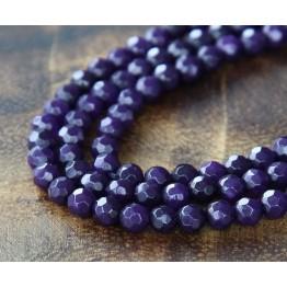 Dark Purple Candy Jade Beads, 4mm Faceted Round