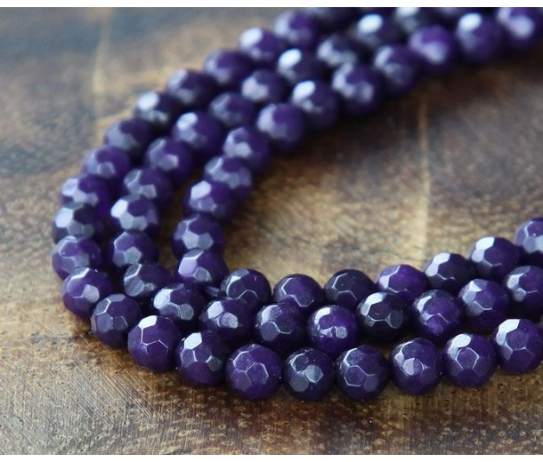 Dark Purple Candy Jade Beads, 4mm Faceted Round