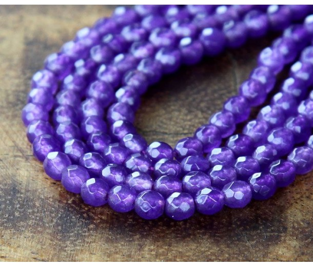 Medium Purple Candy Jade Beads, 4mm Faceted Round