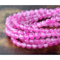 Rose Pink Candy Jade Beads, 4mm Faceted Round