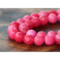 Watermelon Pink Candy Jade Beads, 6mm Faceted Round