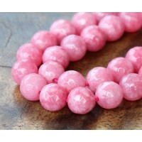 Carmine Pink Candy Jade Beads, 8mm Faceted Round