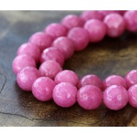 Medium Mauve Candy Jade Beads, 8mm Faceted Round