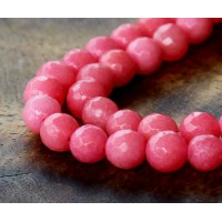 Camellia Pink Candy Jade Beads, 8mm Faceted Round