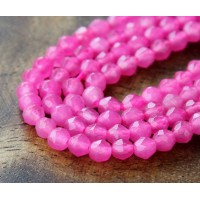 Pink Candy Jade Beads, 4mm Faceted Round