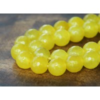 Milky Yellow Candy Jade Beads, 10mm Faceted Round