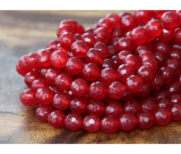 Cranberry Red Candy Jade Beads, 6mm Faceted Round