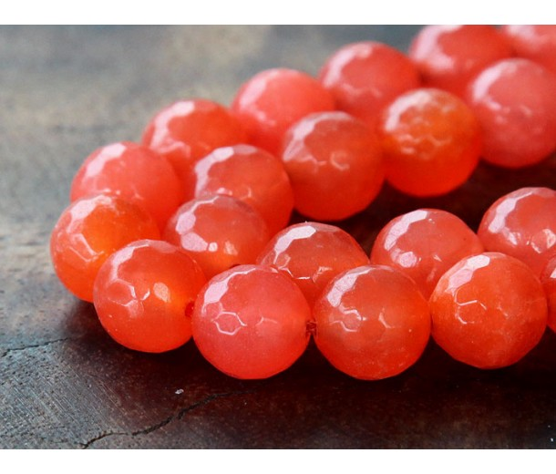 Flame Red Candy Jade Beads, 10mm Faceted Round