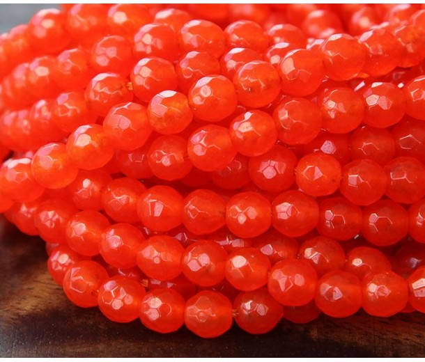 Flame Red Candy Jade Beads, 6mm Faceted Round