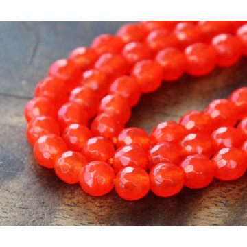 Flame Red Candy Jade Beads, 8mm Faceted Round
