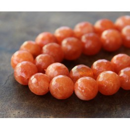 Carrot Orange Candy Jade Beads, 10mm Faceted Round