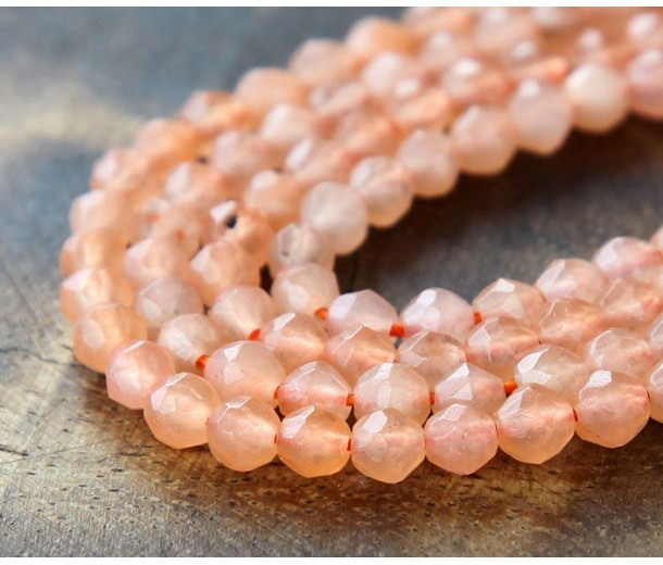 Coral Candy Jade Beads, 4mm Faceted Round