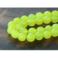 Neon Yellow Candy Jade Beads, 8mm Faceted Round