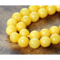 Sun Yellow Candy Jade Beads, 10mm Faceted Round