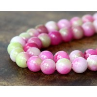 Pink and Apple Green Multicolor Jade Beads, 6mm Round