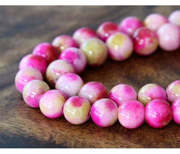 Pink and Apple Green Multicolor Jade Beads, 8mm Round