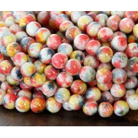 Orange, Yellow and Grey Multicolor Jade Beads, 6mm Round