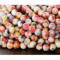Orange, Yellow and Grey Multicolor Jade Beads, 6mm Round