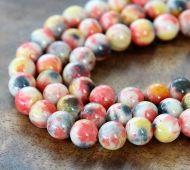 Orange, Yellow and Grey Multicolor Jade Beads, 10mm Round