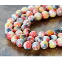 Orange, Yellow and Grey Multicolor Jade Beads, 10mm Round