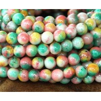 Spring Mix Multicolor Jade Beads, 6mm Round