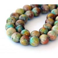Light Multicolor Jade Beads, 8mm Round