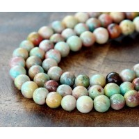 Light Multicolor Jade Beads, 6mm Round