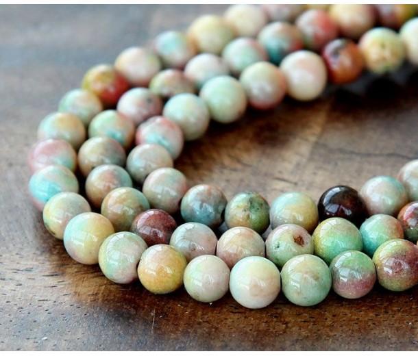 Light Mix Multicolor Jade Beads, 6mm Round