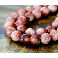 Maroon Mix Multicolor Jade Beads, 10mm Round