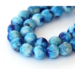 Light and Dark Blue Multicolor Jade Beads, 10mm Round