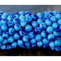 Light and Dark Blue Multicolor Jade Beads, 6mm Round