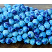 Light and Dark Blue Multicolor Jade Beads, 8mm Round