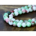 Green and Red Multicolor Jade Beads, 8mm Round