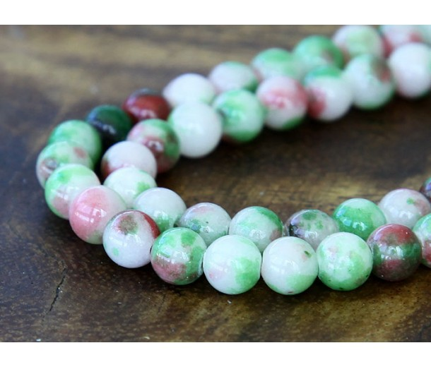 Christmas Mix Multicolor Jade Beads, 8mm Round