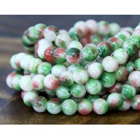 Green and Red Multicolor Jade Beads, 6mm Round