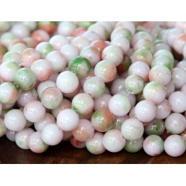 Green, Lilac and Coral Multicolor Jade Beads, 6mm Round