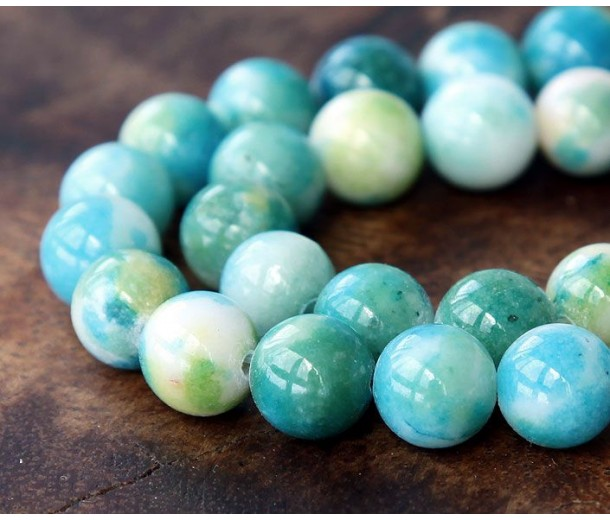 Green and Light Blue Multicolor Jade Beads, 10mm Round