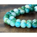 Green and Light Blue Multicolor Jade Beads, 8mm Round