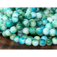Green and Light Blue Multicolor Jade Beads, 6mm Round