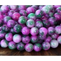 Dark Pink and Green Multicolor Jade Beads, 8mm Round