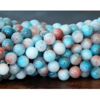 Light Blue and Coral Multicolor Jade Beads, 6mm Round