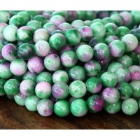 Green and Pink Multicolor Jade Beads, 6mm Round