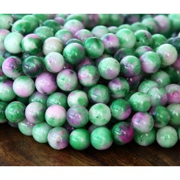 Green and Pink Multicolor Jade Beads, 8mm Round