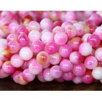 Rose Pink and Yellow Multicolor Jade Beads, 6mm Round