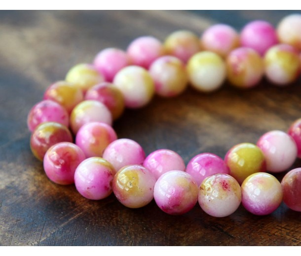 Rose Pink and Mustard Multicolor Jade Beads, 6mm Round